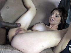 Witness this reality video where a brunette, with a nice ass wearing sexy lingerie, goes hardcore with a black boy while her husband is watching.