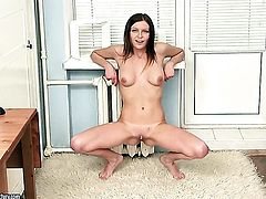 Brunette Valery Von spends her sexual energy alone using her fingers