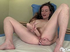 Ana is a hairy amateur who buries a big dildo in both her pussy and her ass hole. She double toys her holes and rubs her clitoris as well. It's impossible not to cum from that.