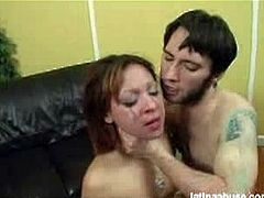 Letti is an innocent Latin babe who has never been treated so rough in her life. This guy is really brutal with her, choking her and fucking her throat deep.