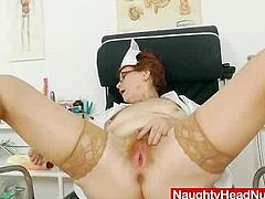 Jindriska the super fuckable and horny head practical nurse playing with herself and teases in the inquiry chair while she wears pretty chalky caretaker uniforms and pantyhose
