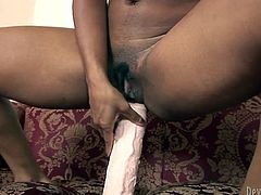 Dark haired ebony lassie with big titties acquired one fancy huge dildo to please her thirsting cooch when her hubby is out. Of course nothing can be compared with his staff cock. But this stick is pretty good...Look at this torrid girlie in Fame Digital sex video!