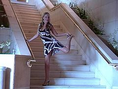This hot reality video has a sexy blonde showing her pussy as she crawls up some stairs. She has a really sexy ass and likes to show it off