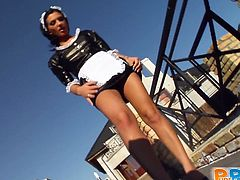Get wild watching this brunette babe, with natural breasts wearing a maid uniform, while she gets banged hard by a lusty dude in a POV video.