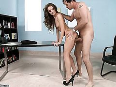 Brunette Sophie Lynx is too hot to stop fucking with hard dicked guy
