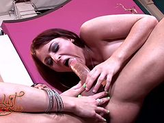 Check out this hardcore scene where these horny ladies share this guy's big cock in a threesome that leaves them covered by his semen.