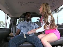 Miss Courteny Cummz like black men that cum a lot and here she found one! This ebony dude is happy to fuck her white, naughty ass so he steps inside the Bang Bus. There, Courtney shows us what a whore she is and begins to rub his cock. Her pink nipples go hard and her mouth drools for cock. Why not see her in action!