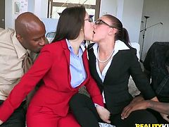 Office girl Mischa Brooks and her nasty GF are having fun with two dudes in CFNM scene. The bitches show their cock-sucking skills and then get their pussies amazingly fucked.