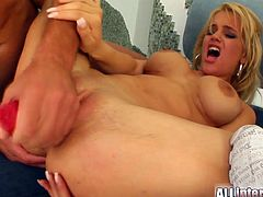 Two salacious blondes Brittney and Angel are having fun with two dudes indoors. The men drill the bitches' mouths, assholes and cunts and then make them eat each other's creampies.