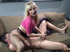 This sexy blonde with a nice round ass wants to get some cock. Watch her as she performs a delicious handjob on her irresistible pantyhose.