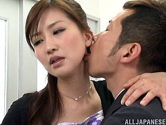 This sexy and beautiful japanese teacher is making one of her coworkers stay late after all the students have left so he can help her grade papers. But it really something else the two will be doing. she takes off her top and he sucks on her nipples then she spread eagle so he can eat her cunt. He even gets to kiss her ass.