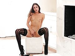 Anna Morna with small boobs and smooth muff stripping down to her birthday suit and has fun alone