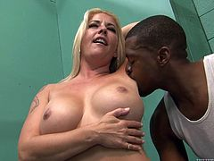 Take a look at this hardcore scene where the busty blonde milf Joclyn Stone is nailed by a big black cock that leaves her covered by cum.