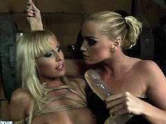 Blonde Kathia Nobili with huge boobs and Adriana Russo have a lot of lesbian sexual energy to spend