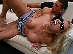 Her shaved twat and nice mouth are filled with cock during top threesome
