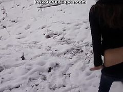 Slutty whore with dark hair suddenly induces and wants to fuck. She meets a man and gets drilled putting her hands on the tree. Watch in steamy WTF Pass sex clip.