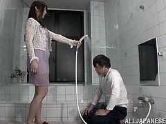 This Japanese slut is tied up in prison and tied up with rope. She has fingers shoved down her throat and feet stuck in her mouth. she actually loves this degrading torture and can't get enough on the humiliation.