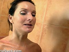 And that's gonna be a golden rain for her! That's weird. She lets him piss on her and then rewards his cock with a blowjob!
