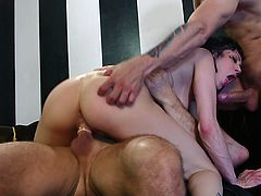 Nothing beats two cocks banging her shaved holes in such threesome