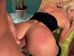 A nasty fucking blonde bitch sucks on a hard fuckin' cock and then takes it up her fuckin' tight butthole. Check it out right here!