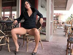 Marletta strips off everything but her heels as she walks around fully nude in public and even spreads her legs and fingers herself.