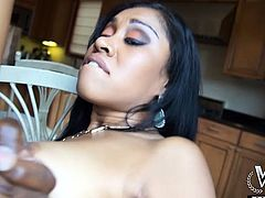 Ebony chick taking black dick on the kitchen table