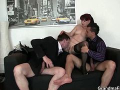 Granny secretary gets two young cocks in the office. This is the kind of work environment she is used to. There is no doubt that this is where she gets more productive and definitely horny.
