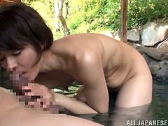 Slim Sakura Kawaguci gets her body kissed and pussy licked by some guy in a bathtub. Then this horny Asian MILF gives a pleasurable blowjob and takes a cumshot on her palms.