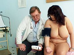 After a warm gyno exam, busty mature starts to feel horny for cock