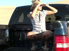 Stunning blonde girl rides a car in the desert. She makes a stop to take a rest. Alison Angel shows her big natural boobs and hot ass.