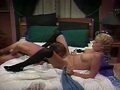 Horny and hot blondie with nice boobs and awesome body sucks the dick and gets her clit licked and fucked on the bed. Watch in steamy The Classic Porn sex video.