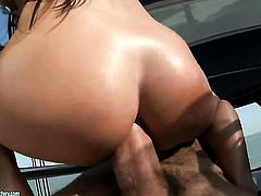 Brunette Christina Bella with gigantic jugs gets her mouth fucked literally to death by hot man