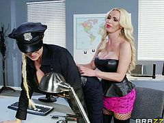 blonde whore fucks a police officer woman