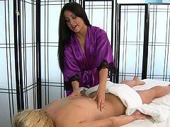 Superb girl on girl massage show