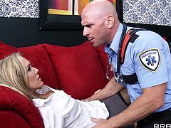 Oh dear, it seems that Brandi blacked out on the floor! Well, luckily she receives first aid and the doc even founds out what's her problem. It looks like Brandi suffers from a sever lack of cock so the gives her a nice big dose. He sucks her big boobs and then feeds her with his dick to make the bitch feel better.