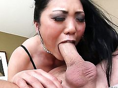Asian Kaiya Lynn gets her mouth attacked by Scott Lyonss thick erect pole