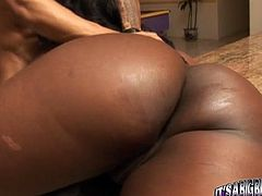 Burning hot black beauty Aryana Starr lies on the table getting her delicious cunt fucked by BBC missionary style. Her big bubble butt bounces while her coochie gets screwed in doggy and sideways positions.