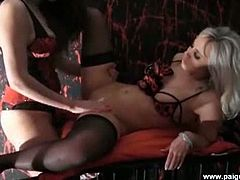 Karlie has been a very bad girl so Paige slips into her huge strapon and and wastes no time in fucking her nice and hard with it to make her cum like never before.