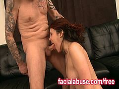 Facial Abuse brings you a hell of a free porn video where you can see how a vicious redhead tattooed coed gets deepthroated very hard before licking cum from the floor.