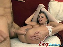 Be part of this video where a brunette cougar, with natural jugs wearing stockings, goes hardcore with a naughty fellow. She loves sucking shafts!