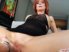 Lustful redhead woman spreads her legs and gets fingered. Later on she gets butt fucked in a doggystyle and a missionary positions. Nina also gets her face cum covered. Nina loves it because she believes that sperm helps to keep youth.