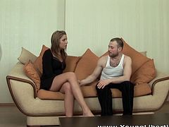 Seductive Russian beauty with long sexy legs gets laid with her brutal lover on couch. gorgeous hoe gives blowjob in 69 position and gets her cooch drilled in doggystyle and mish poses.
