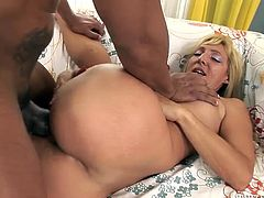 Long and light haired wanton chick with saggy boobies posed doggy style on sofa and got her hungry kitty banged hard by that throbbing BBC. Watch this hot interracial fuck in Fame Digital sex video!
