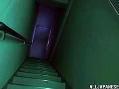 The cute Japanese nurse went out looking for her colleagues. She took the elevator and then went up on the stairways. It was dark so she used her flashlight. The brunette looked around but still couldn't found her girls until she heard something. In a room, the other nurses were fucked by an alien and liked it!