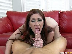 Milf Tiffany Mynx with big juicy tits and dripping wet pussy seduces Van Wylde with ease and gets what she wants. She sucks his cock and gets her trimmed pussy licked before he inserts his cock in her love tunnel.