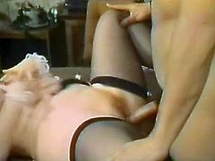 Slutty and filthy bitch with nice body and light hair gets her clit fucked in mish pose meanwhile horny dark haired bitch with huge melons gets banged and receives a cumshots on her boobs. Have a look in steamy The Classic porn sex clip.