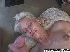 Short-haired mature blonde gets fucked by three horny dudes