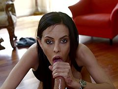 Dark haired whore Brandy gives me one hell of a blowjob. She puts a lot of saliva and lust in sucking my dick, trying her best to milk me of every drop of semen I have. If she keeps it up like this maybe I will unleash a massive load right on her slutty face, glazing her cute lips, eyes and cheekbones.