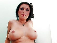 With big boobs and clean muff strips down to her bare skin for your viewing enjoyment