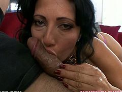 Raven haired old filth with nice tits posed on knees and started to please her young freak with pretty hot BJ. That feverish guy appreciates what his old chick does for him. Have a look at this filthy wench in My XXX Pass sex clip!